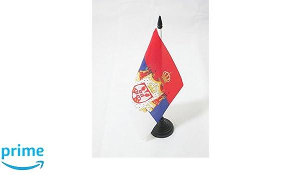 Piccola BANDIERINA SERBA 14 x 21 cm AZ FLAG Bandiera da Tavolo Regno di Serbia 1882-1918 21x14cm