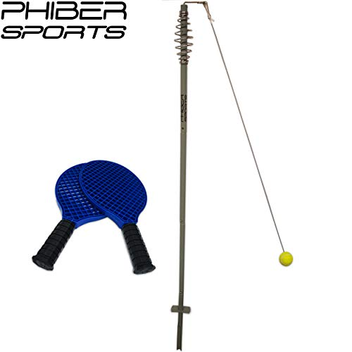 PHIBER-SPORTS Premium Swingball Set mit 2 ergonomischen Schlägern - Langlebigkeit und maximaler Spielspaß Dank verstärkter Schnurr und Tennisball - Twistball Ballspiel für Kinder und Erwachsene -