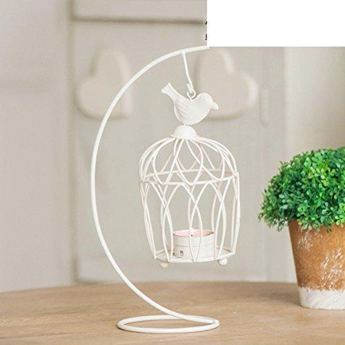 supporto di candela di gabbia in ferro battuto di stile europeo/Ornamenti romantica cena a lume di candela a lume di candela/ Creative Lanterna-N