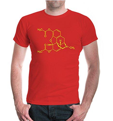buXsbaum® T-Shirt-Strukturformel-Diacetylmorphin Red-Neonyellow