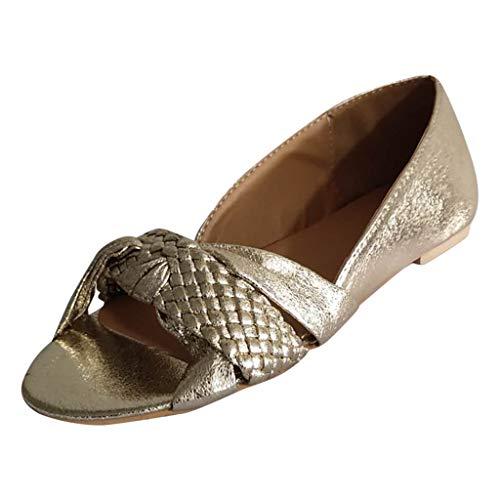 LILICAT Sandali Donna in Pelle Piatti Casual Moda Loafers Scarpe da Guida Estivi Travel Infradito Sandali Vintage Open Toe Roma Sandali (Oro,39 EU)