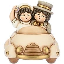 THUN Coppia di sposini in macchina (bomboniera), ceramica, h 20,4 cm