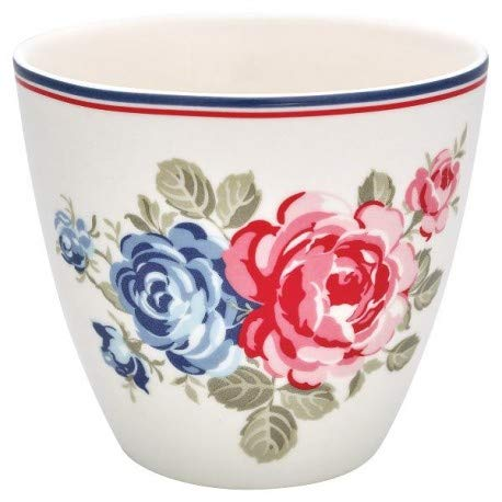 GreenGate STWLATHAI0106 Hailey Latte Cup White 9cm (1 Stück) White Rose Tasse