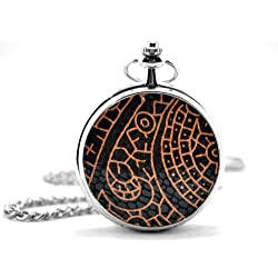 Black & Orange Textured Cover Silver Pocket Watch & Chain Simulated Leather Unique Unisex