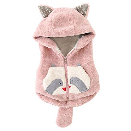 Culater® Neonata di inverno del fumetto spesso incappucciato Top vestiti caldi (8, Rosa)