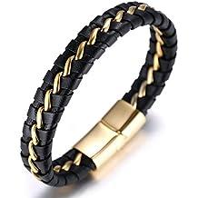 """Halukakah """"HONOR"""" Männlich Reines Leder Titan Armband schwarz & golden 8,46 """"(21,5cm) mit KOSTENLOSER Geschenkpackung"""