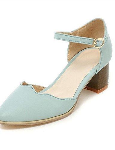 WSS 2016 Chaussures Femme-Mariage / Habillé / Décontracté / Soirée & Evénement-Noir / Bleu / Blanc-Gros Talon-Talons-Talons-Similicuir blue-us5 / eu35 / uk3 / cn34