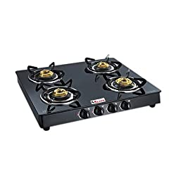 Seavy Marvel 4 Burner Glass Top Gas Stove (Black-Auto/Ignition)