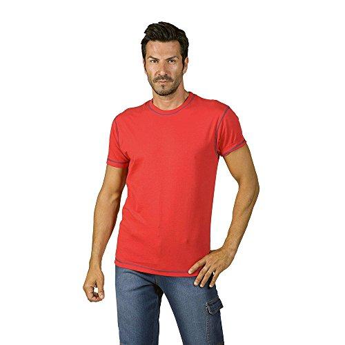 logica-spinning3-t-shirt-cotone-rosso-cuciture-contrasto-blu-maglia-maniche-corte-girocollo-tinta-un