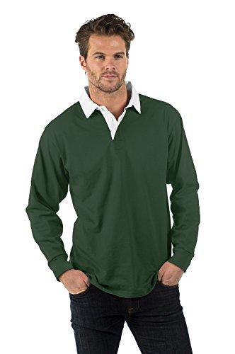 Bruntwood Aufgeld Langarm Rugby Hemd - Premium Long Sleeve Rugby Shirt - Herren & Damen - 280GSM - Baumwolle/Polyester Flaschengrün