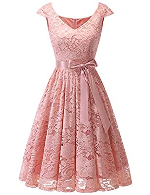 Meetjen Women's Short Bridesmaid V-Neck Floral Lace Dress Cocktail Formal Swing Dress with Cap Sleeves