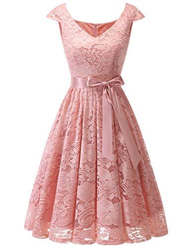 Meetjen Damen Elegant Spitzenkleid V-Ausschnitt festliches Cocktailkleid Abendkleider Blush XL -