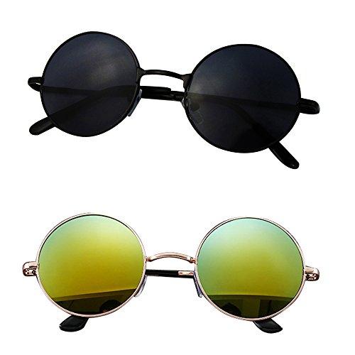Mangotree 2 Paar Unisex Kinder Sonnenbrille Hippie Kleine Linse Runde Sonnenbrille für Mädchen & Jungen (3 ~ 12 Jahre Alt) UV Schutz Mode Retro Hipster Brillen (Free Size, Gold + Schwarz)
