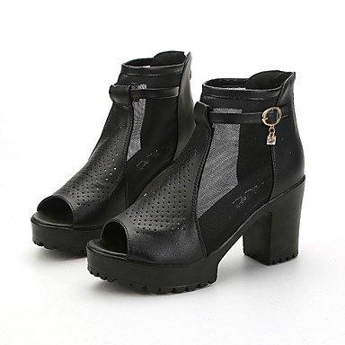 LvYuan Sandalen-Büro Lässig Kleid-Kunstleder-Blockabsatz-Club-Schuhe-Schwarz Weiß Black