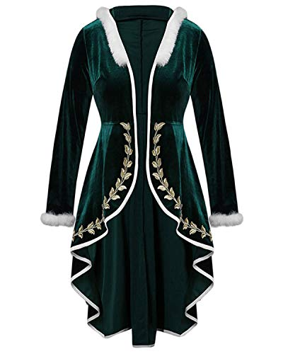 Kenancy Christmas Samt Mantel Midi Xmas Wintermantel Weihnachten Samtmantel Outwear Meeresgrün 4X-Large