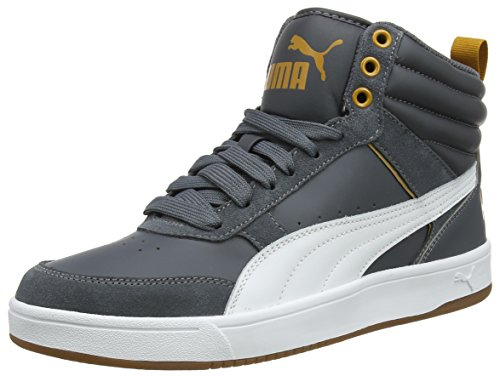 Puma rebound street v2, sneaker a collo alto unisex – adulto, nero (iron gate white-buckthorn brown 08), 43 eu
