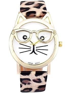 FEITONG Damenuhr Nette Glas Katze Form Analoge Quarz Dial Frauen Armbanduhr Khaki