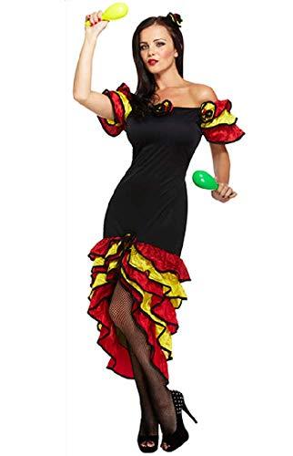 Fancy Me Damen Sexy Spanischer Flamenco Rumba Tänzer Kostüm Kleid Outfit STD &Übergröße - Schwarz, STD (UK ()