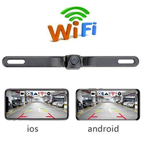 Huashao WiFi-Rückfahrkamera mit amerikanischem Nummernschildrahmen, 180-Grad-HD-Heckzugbild-Autokamera, geeignet für Modellautos