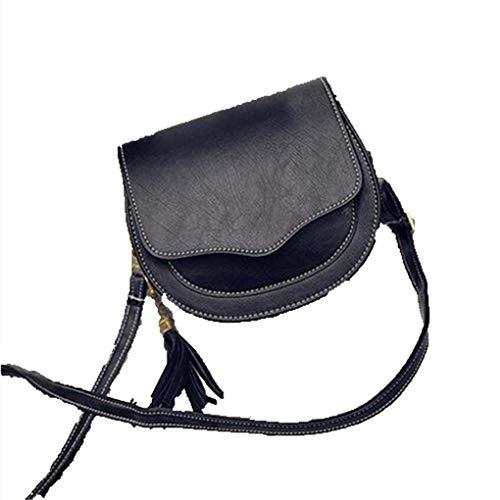 Adrette Rundschultertaschen Für Frauen Quaste Weiblichen Umhängetasche Mädchen Kleine Sattel Umhängetasche Black