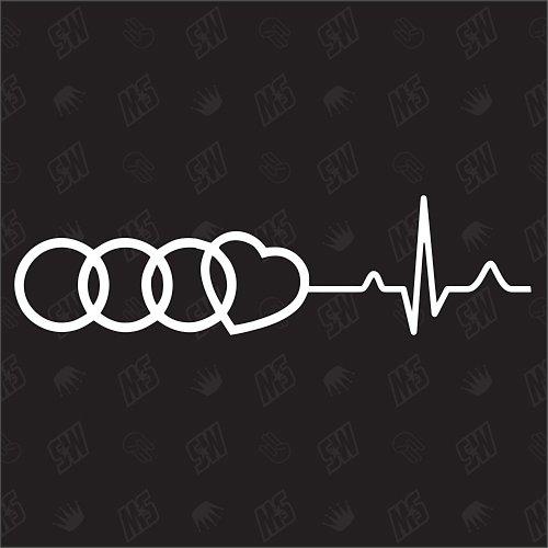 Audi Herzschlag - Sticker, Tuning Fan Aufkleber, Ringe mit Herz