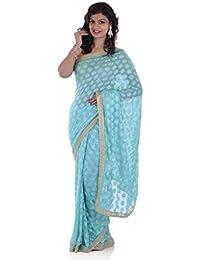 Ethnic Bliss Lifestyles Chiffon Phulkari Jaal Saree (Ethnic Bliss Lifestyles Phulkari Sea Blue Saree _Sea Blue)
