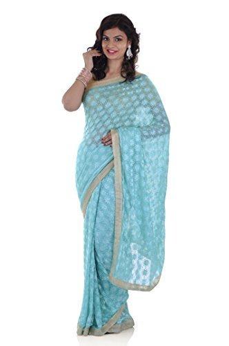 Ethnic Bliss Lifestyles Chiffon Phulkari Jaal Saree (Ethnic Bliss Lifestyles Phulkari Sea...