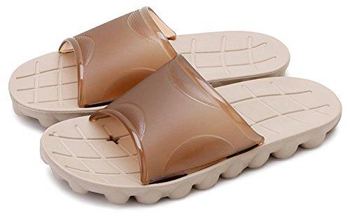 Chaussons de douche antidérapants unisex, sandales de plage, moulants avec semelle en résine et haut en mousse, idéals pour la piscine, la salle de bain pour adulte Marron