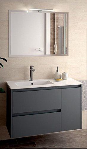 Yellowshop - mobile mobiletto da bagno sospeso in legno cm 85 completo di specchiera lampada led e lavabo in porcellana arredo modello noja 855 varie colorazioni (grigio opaco)