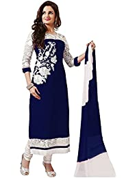 Regalia Ethnic Women's Georgette Dress Material (MFRE109_Free Size_Blue)