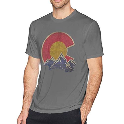Herren Vintage Colorado Mountain Kleidung Tee Shirts Tshirt Kurzarm T-Shirt Plus Size T-Shirt Deep Heather XL -