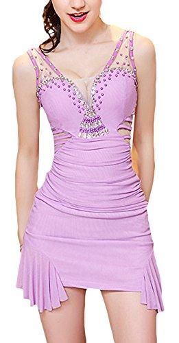 EOZY Femme Brillant Robe Moulante Bal Décolleté Transparent Creux Violet