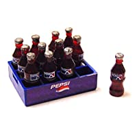 Tumdee Miniatures Dolls House Plastic Pepsi Crate with 12 Bottles