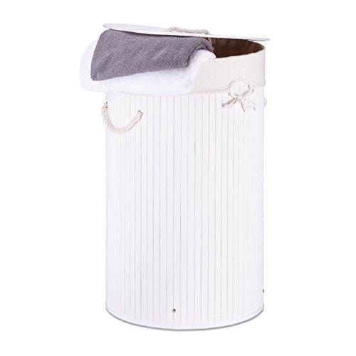 Relaxdays Wäschekorb Bambus rund Ø 41 cm, faltbare Wäschetruhe, Volumen 80 Liter, Wäschesack aus Baumwolle, weiß
