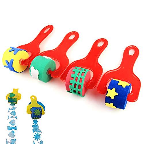 Hilai 4pcs Éponges Outils de Peinture Pinceau Enfants Fun Brosse éponge Outils Doigt Peinture Dessin - Rouge