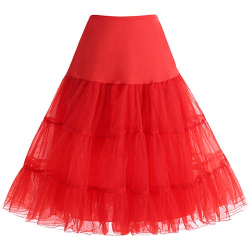Bbonlinedress Jupon Femme Style année 50 Jupon Rockabilly 4 Tailles à Choisir Rouge S