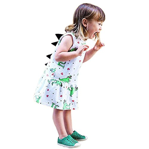 Lucky Mall Mädchen Farbe Streifen Cartoon Dinosaurier Kleid, Kleinkind Baby Print 3D Rückenflosse Outfits Sleeveless Kilt 12M-5T (Alice Im Wunderland Hunde Kostüm)
