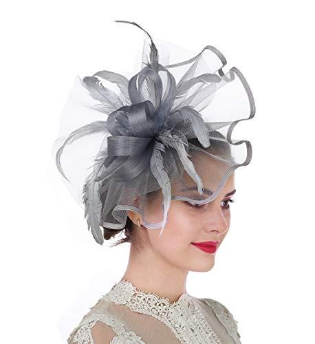 Mädchen Kostüm Anmutige - Lucky Leaf Damen Mädchen Bibis & Haar Clip Feder Hochzeit Cocktail Tea Party Mütze Gr. 56, 5-plume Gris