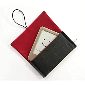 Schutzhülle für ereader oder kleines Tablet/Hülle für Lasegerät/Tasche, Cover, Sleeve, Bag für Kindle, Tolino, Feuer 7, Kobo. Kleines Geschenk. Grau – Rot