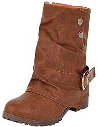 Botas Martin alto top planos para mujer,Sonnena Botas de cuero cortas de moda Zapatos de mujer de hebilla de cuero artificial Patchwork