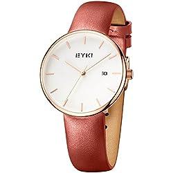 Alienwork Quarz Armbanduhr elegant Quarzuhr Uhr modisch Leder weiss orange YH.E1056L-04