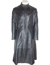 UNICORN Hommes Neo Matrix toute la longueur Réel en cuir Manteau Veste Noir #M4