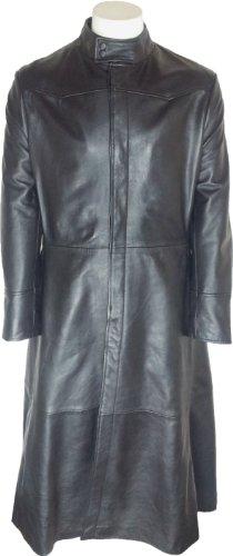 UNICORN Uomo Matrix Neo Autentico Vera Pelle Giacca Cappotto Lunghezza Lungo Nero #M4 Dimensione 42 (XL)