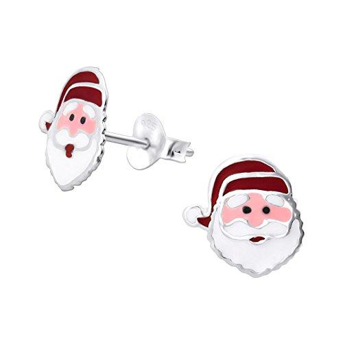 Laimons Mädchen Kids Kinder-Ohrstecker Ohrringe Kinderschmuck Nikolaus Santa Claus 10mm Deutsch Weiß, Rot Sterling Silber 925