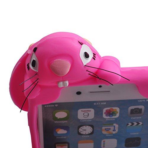 Voguecase® Per Apple iPhone 6/6s 4,7, Custodia Silicone Morbido Flessibile TPU Custodia Case Cover Protettivo Skin Caso,Completa il design del vostro Apple iPhone 6/6s 4,7 (coniglio-grigio) Con Stilo  coniglio-Rosa