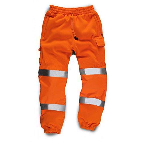 Standsafe, pantaloni riflettenti ad alta visibilità, pantaloni da lavoro con strisce riflettenti Orange L
