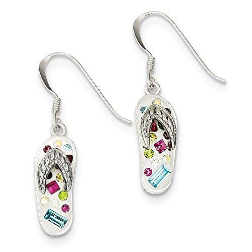 Stellux Ohrringe/Flip-Flop-Ohrringe Sterling-Silber 925 Kristall mehrfarbig Weiß
