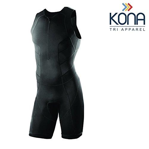 Kona Herren Triathlon Race Anzug - Speedsuit Skinsuit Trisuit ärmellos - Einteilige Weste und Kurze Combo mit halben Reißverschlüssen mit Einer Rückentasche für Stauraum, schwarz, XXX-Large (Race Anzug)
