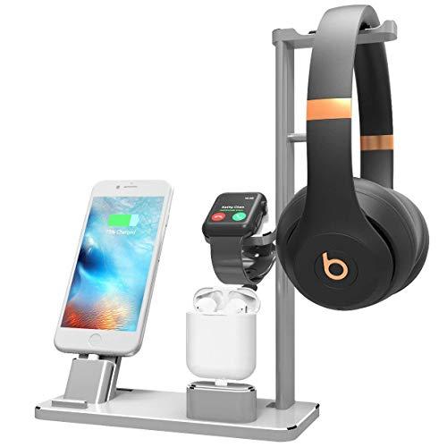 YOMENG Ladestation für Apple Watch Kopfhörer, Ladestation Halter 6 in 1 Aluminium-Ladestationen für iPhone X / 8 Plus/XS MAX/XR Ipad AirPods Iwatch Serie 4/3/2/1 (Silber)
