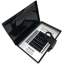 Extensión de Pestaña profesional Pelo a Pelo 100% pelo visón natural color negro mate Longitud:8mm---12mm, Curvatura C (Los pelos naturales de visón no existen la diferencia de espesor) (SD 11mm C)